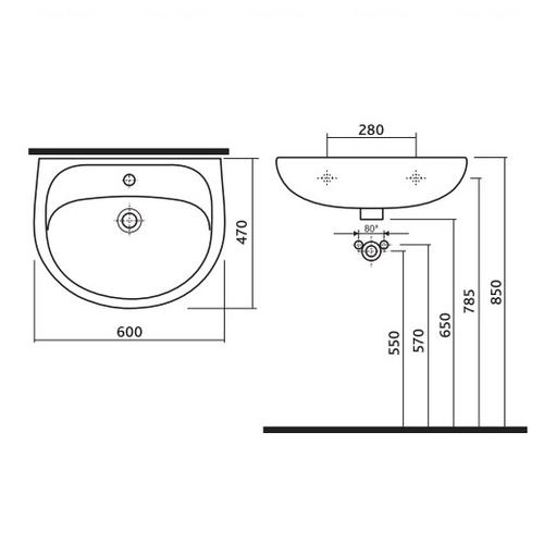 Умывальник мебельный Kolo Solo 50 (7195000U)