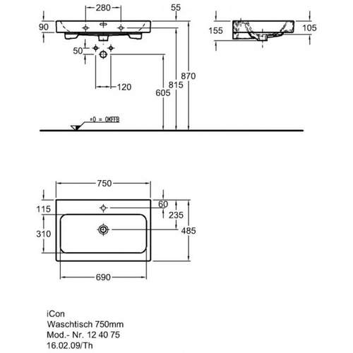 Умывальник Keramag iCon 750 мм