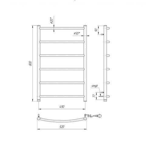 Полотенцесушитель Mario Классик HP-I 800x530-75 п/п хром хром