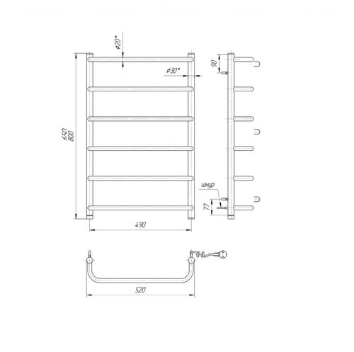 Полотенцесушитель Mario Стандарт НР-I 800x530-150 п/п хром хром