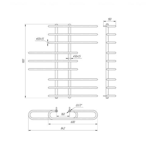 Полотенцесушитель Mario Парус 900х850-160 хром хром