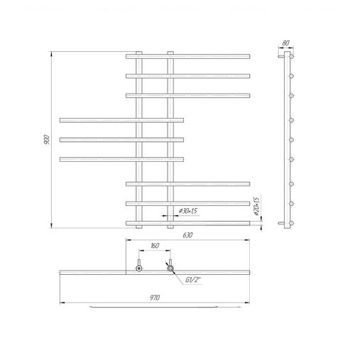 Полотенцесушитель Mario Симфония 900x970-160 хром хром
