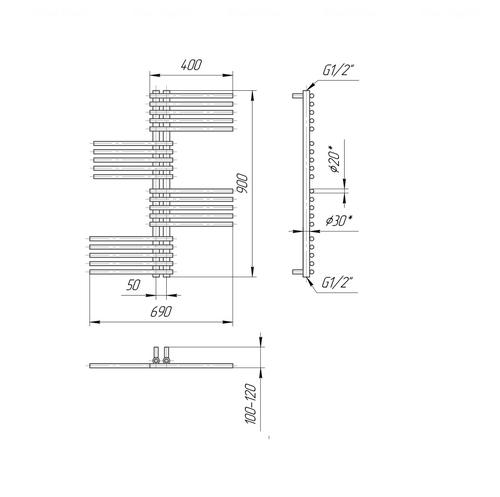 Полотенцесушитель Mario Премиум Симфония 900x690-50 хром хром