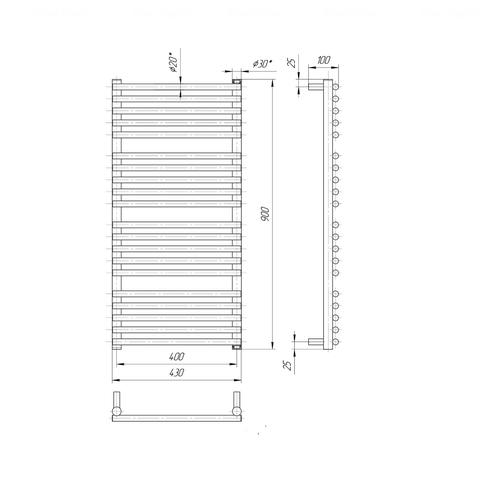 Полотенцесушитель Mario Премиум Турин 900х430-400 хром хром