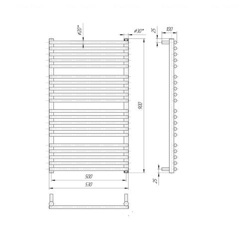 Полотенцесушитель Mario Премиум Турин 900х530-500 хром хром