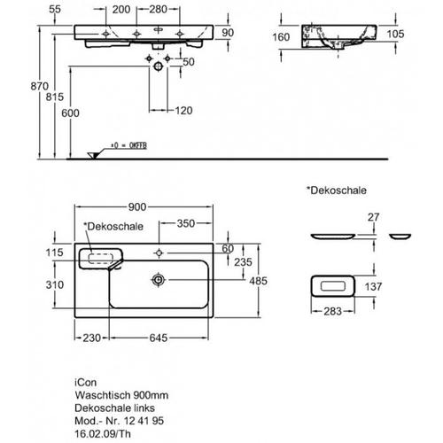 Умывальник Keramag iCon 900 мм, левосторонний