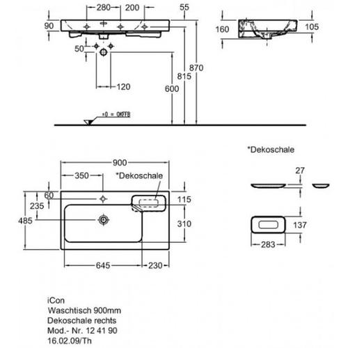 Умывальник Keramag iCon 900 мм, правосторонний