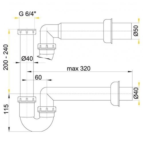 Сифон для умывальника Alca plast A80, d40