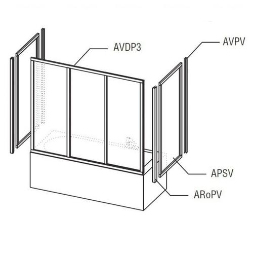 Душевая стенка для ванны Ravak APSV 80 профиль белый + стекло Rain профиль белый + стекло Rain