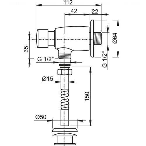 Сливной кнопочный вентиль Alca plast для писсуара, ATS001
