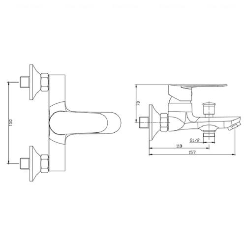 Смеситель для ванны и душа Invena Esla BW-94-001-V