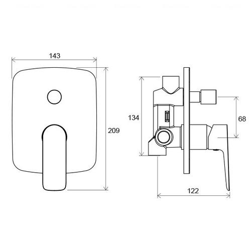 Смеситель для ванны и душа Ravak CL 061.00 (X070086)