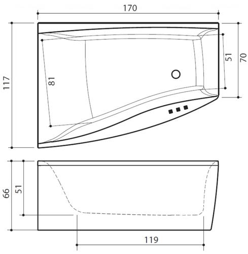 Ванна Balteco Cali 1700 мм простая (S1) простая (S1)