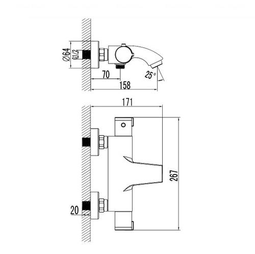 Смеситель-термостат для ванны и душа Imprese Centrum 10400