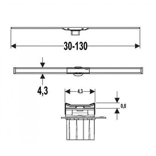 Дренажный канал Geberit CleanLine 60, L30-130 см тёмный/матовый металл тёмный/матовый металл