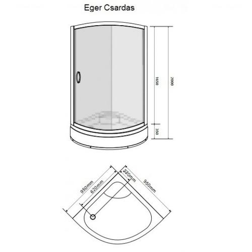 Душевая кабина Eger Csardas 95х95х200 см с поддоном (599-512)