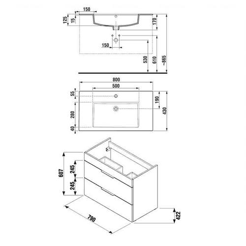 Тумба с умывальником Jika Cube 80 (H4537621763001)