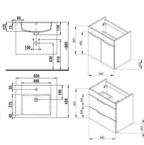 Тумба с умывальником Jika Cube 65 (H4536021763021)