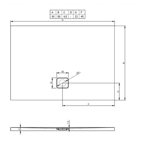 Душевой поддон Riho Basel 402 90х80 (DC12)