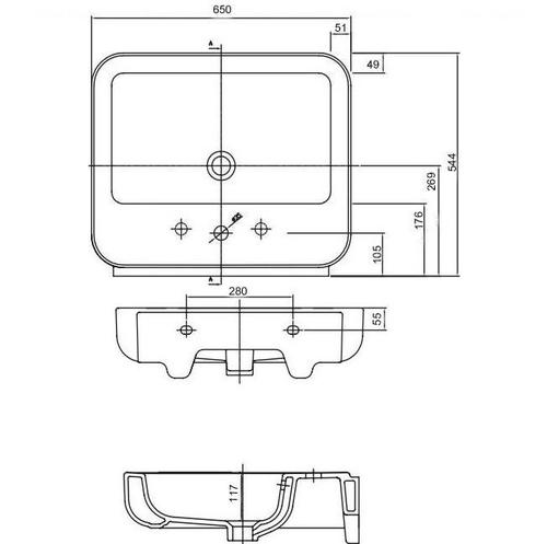 Умывальник Kolo EGO by Antonio Citterio 65 обычное покрытие обычное покрытие