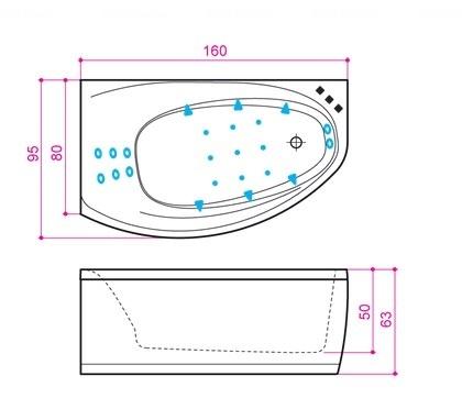 Ванна Balteco Eclipse 1600 мм простая (S1) простая (S1)