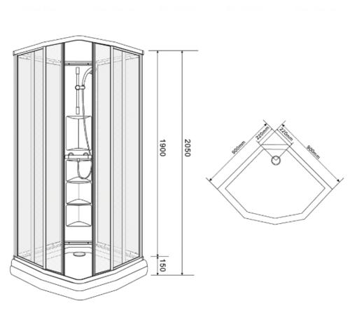 Душевая кабина Eger Sharkeza 90х90х205 см (599-8005) с поддоном и задней стенкой