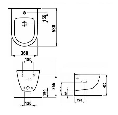 Биде подвесное Laufen Pro обычное покрытие обычное покрытие