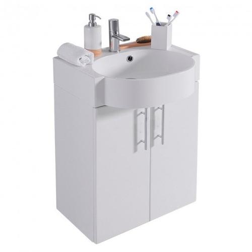Тумба с раковиной Fancy Marble Ibiza 60 (ШН-612 + 0906101) белый глянец белый глянец