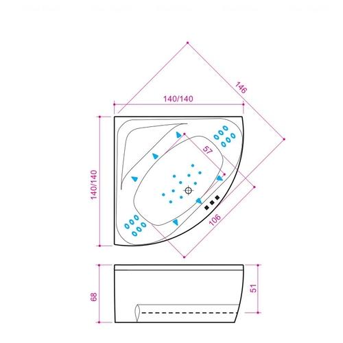 Ванна Balteco Linea 1400 мм простая (S1) простая (S1)