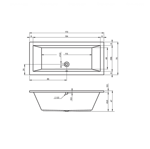Ванна Riho Lusso 170x75 (BA1800500000000)