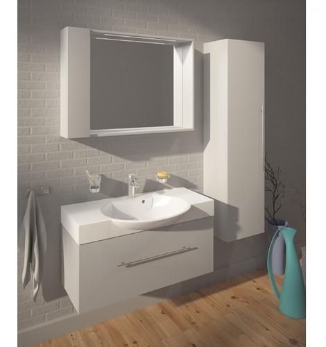 Шкафчик зеркальный Fancy Marble MC-980 (ШЗ-980) белый / серый белый / серый