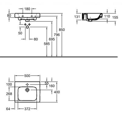 Умывальник Kolo Modo 50 обычное покрытие обычное покрытие