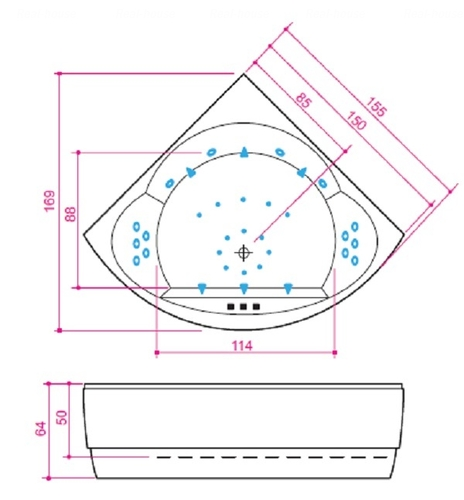 Ванна Balteco Metro 1550 мм простая (S1) простая (S1)