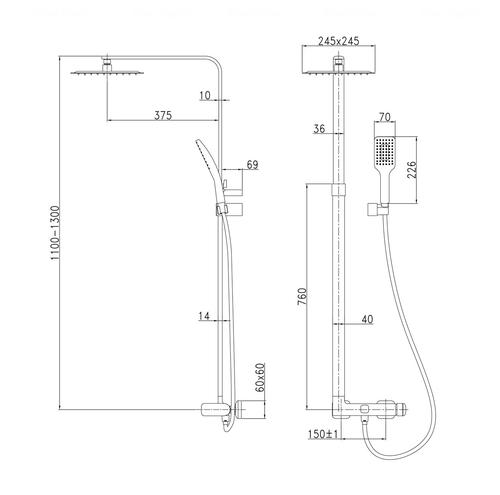 Душевая система для ванны и душа Imprese Odlove Т-15300