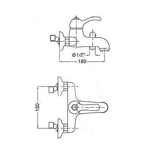Смеситель для ванны и душа Potato P3015-4