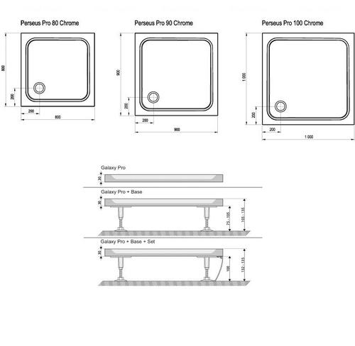 Душевой поддон Ravak Perseus Pro Chrome 800