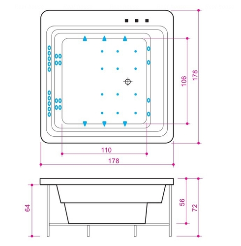 Ванна Balteco Quadrum 1780 мм простая (S1) простая (S1)