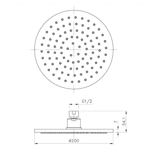 Верхний душ Imprese Ø 200 мм (S200B)