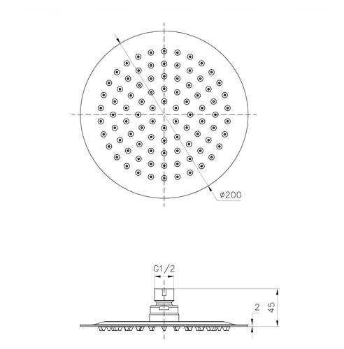 Верхний душ Imprese Ø 200 мм (S200SS2)