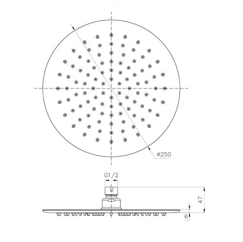 Верхний душ Imprese Ø 250 мм (S250SS6)