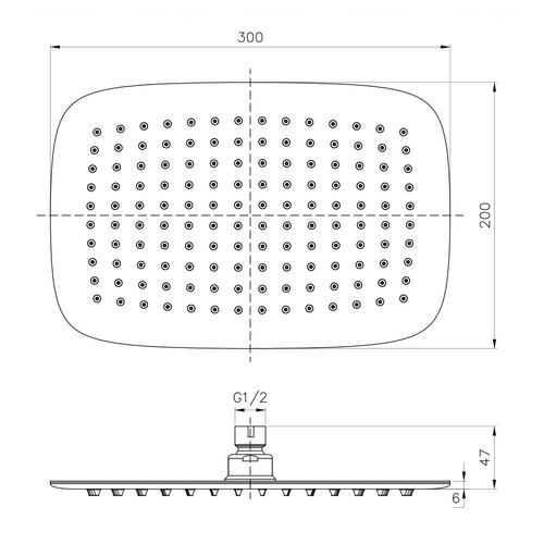 Верхний душ Imprese 300х200 мм (S300200SS6)
