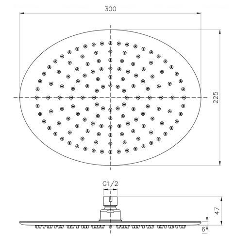 Верхний душ Imprese 300х224 мм (S300225SS6)