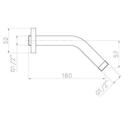 Кронштейн для верхнего душа Imprese 160 мм (SH01)