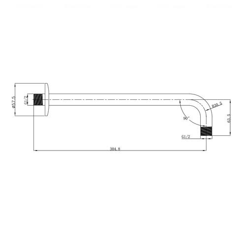 Кронштейн для верхнего душа Imprese 305 мм (SH01-305)