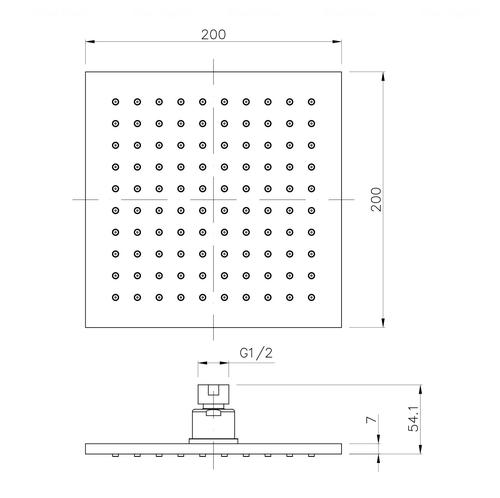 Верхний душ Imprese 200 мм (SQ200B)