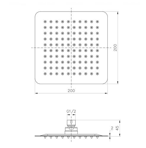 Верхний душ Imprese 200 мм (SQ200SS2)