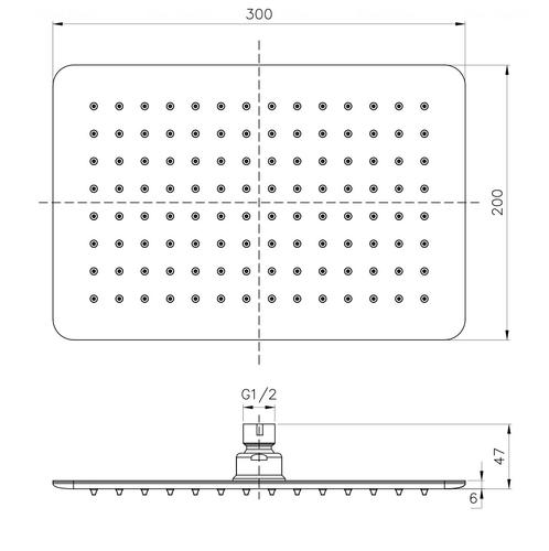 Верхний душ Imprese 300х200 мм (SQ300200SS6)