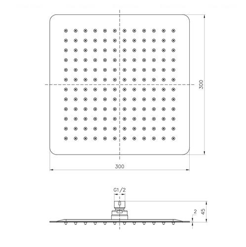 Верхний душ Imprese 300 мм (SQ300SS2)