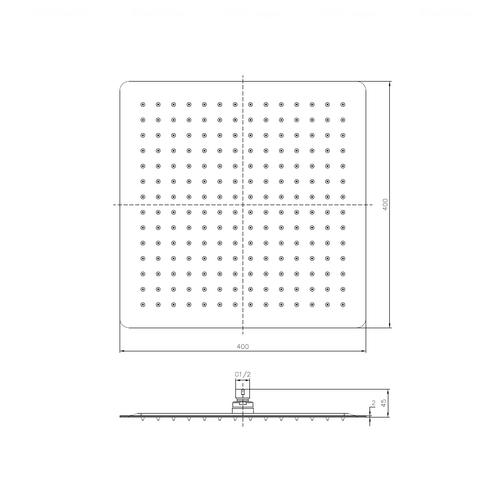 Верхний душ Imprese 400 мм (SQ400SS2)