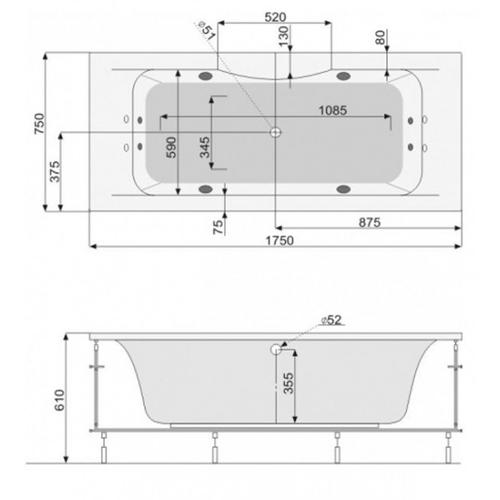Ванна гидромассажная Pool Spa Sidney 175 (PHPNS10ST2C1960)